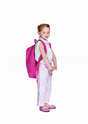 Buy stock photo Full length of a happy school girl with backpack isolated on white background