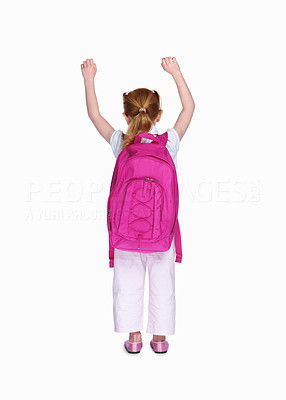 Buy stock photo Rear view of a school girl with pink backpack isolated on white background