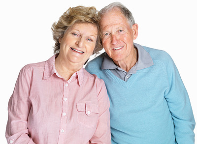 Buy stock photo Portrait of a happy senior couple standing together isolated against white