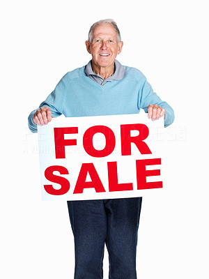 Buy stock photo Portrait of a happy mature man holding sale sign against white background