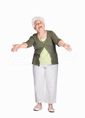 Buy stock photo Full length of a happy mature woman ready to hug isolated against white