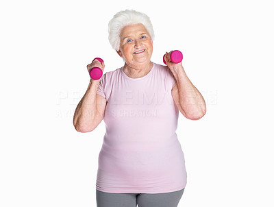 Buy stock photo Portrait of a happy mature female with dumbbells isolated against white