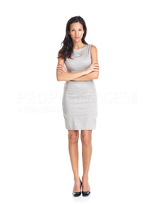 Buy stock photo Portrait of a pretty young woman standing with folded hands on white background