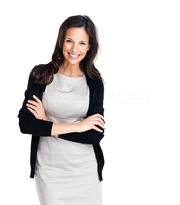 Buy stock photo Beautiful European young businesswoman standing with hands folded against white background