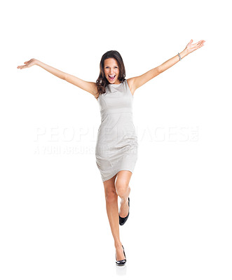 Buy stock photo Portrait of pretty happy young businesswoman celebrating isolated on a white background