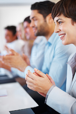 Buy stock photo Business woman with her colleagues applauding in presentation in meeting room
