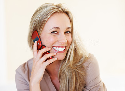 Buy stock photo Portrait of attractive business woman using cellphone and smiling