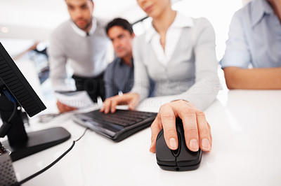 Buy stock photo Closeup of business woman's hand using computer mouse during meeting