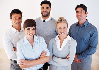 Buy stock photo Group of successful business people looking at you and smiling