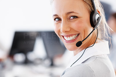 Buy stock photo Closeup of attractive business woman wearing headset and smiling - copyspace