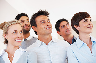 Buy stock photo Closeup of successful business people looking away