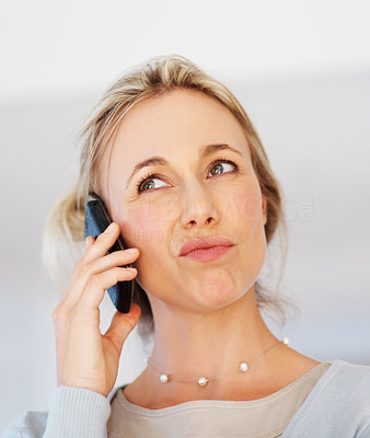 Buy stock photo Closeup of pretty business woman making funny face while using cell phone