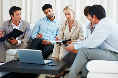 Buy stock photo Business colleagues discussing project during meeting