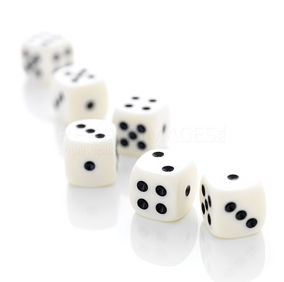 Buy stock photo Six gambling dices on white background