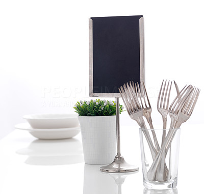 Buy stock photo Modern decorated dining table setting with utensils on the table