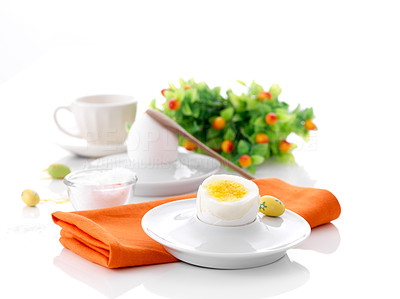 Buy stock photo Wonderful table setting of bunch of flowerwith boiled eggs and small easter eggs
