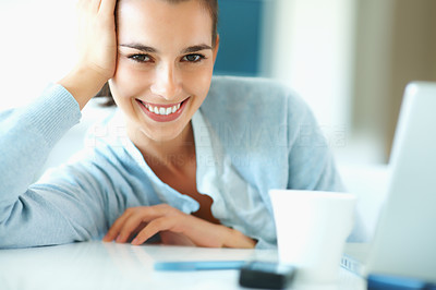 Buy stock photo Happy woman resting head on hand