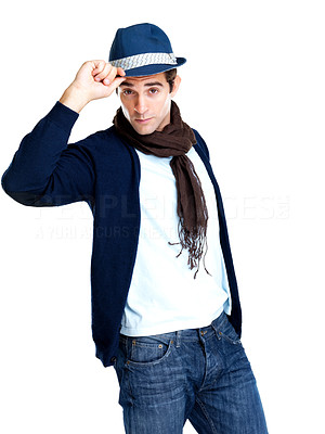 Buy stock photo Portrait of stylish young man wearing a hat isolated against white background