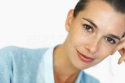 Buy stock photo Closeup portrait of attractive young woman on white background