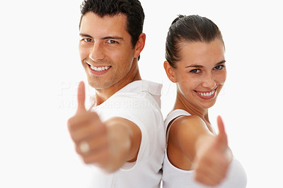 Buy stock photo Young smiling people with thumbs up gesture on white background