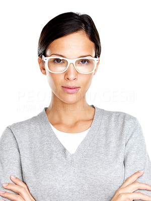 Buy stock photo Portrait of a beautiful young woman in glasses looking confidently against white background
