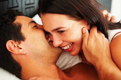 Buy stock photo Closeup of young romantic couple in playful mood