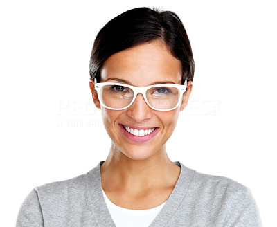 Buy stock photo Potrait of happy young woman wearing glasses smiling against white background