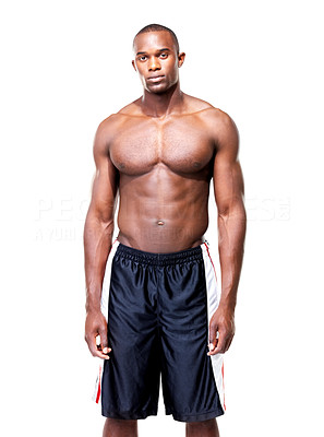 Buy stock photo Portrait of a muscular young man standing against white background