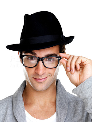 Buy stock photo Portrait of a smiling young guy in glasses and hat on isolated over white background