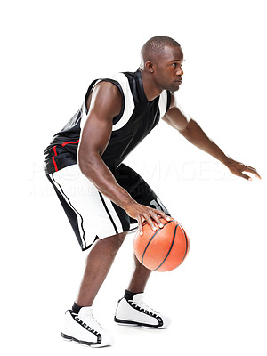 Buy stock photo Portrait of a young african american male basketball player in action against white background