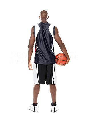 Buy stock photo Rear view of an African American male holding basketball against white isolated background