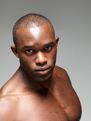 Buy stock photo Closeup portrait of an muscular african american man against grey background