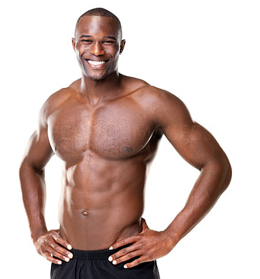 Buy stock photo Portrait of a happy bodybuilder with muscular physique posing against white background