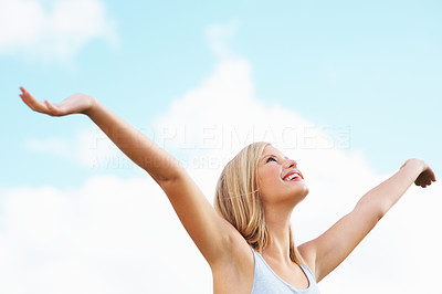 Buy stock photo Happy young woman enjoying the freshness in nature