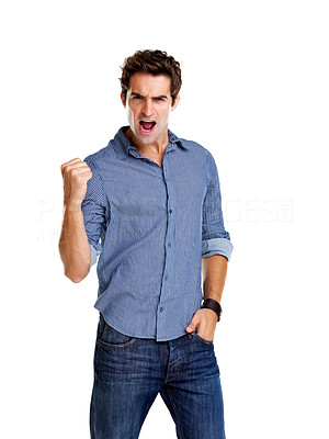 Buy stock photo Portrait of an excited young man with hands raised in victory against white background