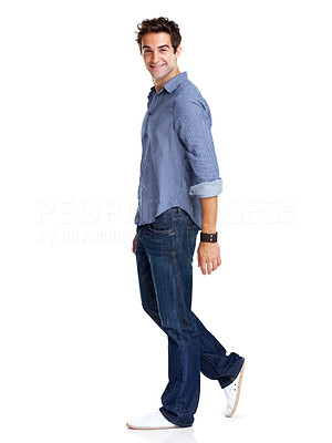 Buy stock photo Portrait of a stylish young guy standing  in pose over white background
