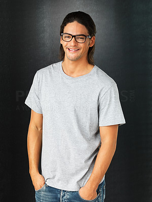 Buy stock photo Happy man wearing glasses and standing with hands in pockets