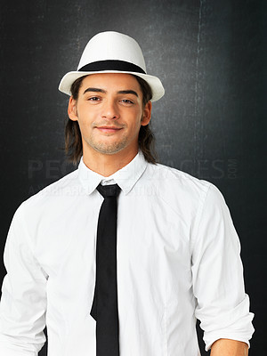 Buy stock photo Handsome man against gray background wearing hat