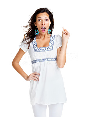 Buy stock photo Portrait of a pretty young woman looking surprised against white background