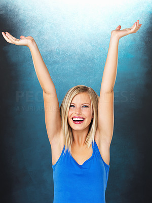 Buy stock photo Portrait of pretty woman with hands raised