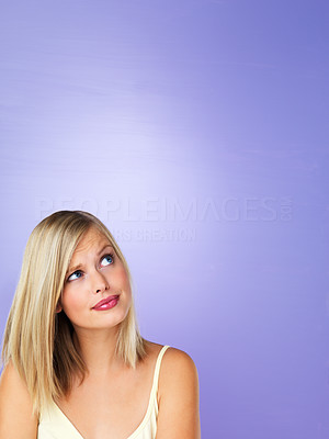Buy stock photo Portrait of thoughtful woman looking at copyspace