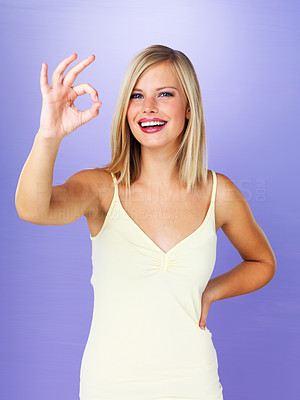 Buy stock photo Portrait of pretty woman giving ok sign