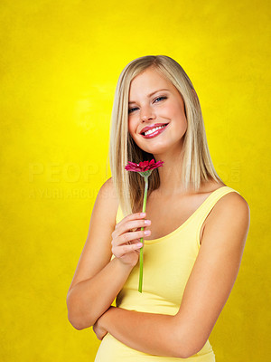 Buy stock photo Pretty woman holding up daisy against yellow background
