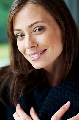 Buy stock photo Closeup portrait of a cute young female looking happy