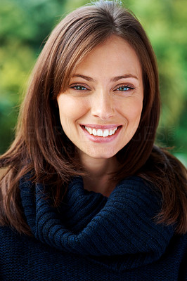 Buy stock photo Closeup portrait of a pretty young woman looking at you with a smile