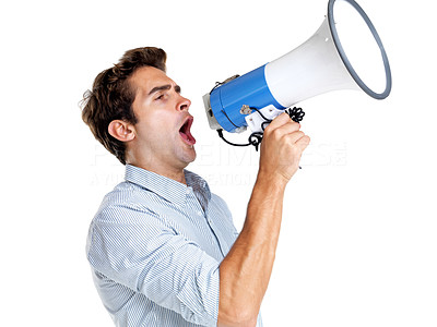Buy stock photo Portrait of a handsome young man making announcement over a megaphone against white background
