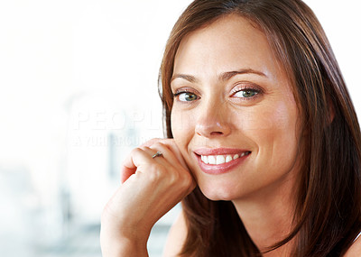 Buy stock photo Closeup portrait of a pretty young woman looking happy