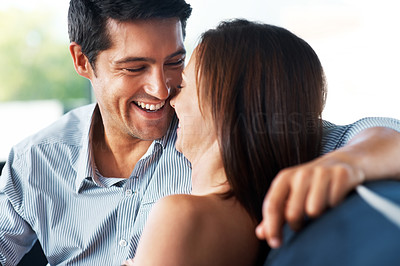 Buy stock photo Portrait of a happy young couple having fun together - Indoor