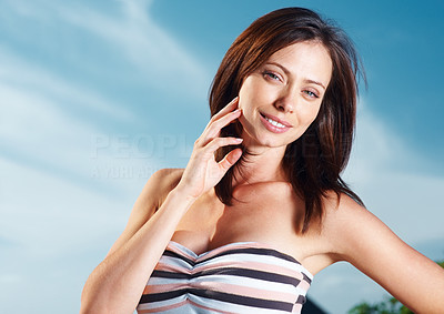 Buy stock photo Portrait of a sexy young woman posing with a style against the sky - Outdoor