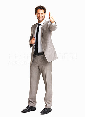 Buy stock photo Successful business man giving you a thumbs up against white background